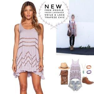 Free People Lavender Voile & Lace Trapeze Dress